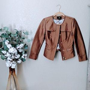 H&M Brown Shiny Moto Jacket Sz 4